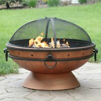 Steel Wood Burning Fire Pit includes log grate fire poker spark screen cover