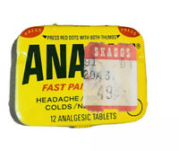 Vintage ANACIN Tin Fast Pain Relief w/12 Tablets With Ad Insert 1950's