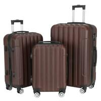 Hardside 3 Piece Nested Spinner Suitcase Luggage Set With TSA Lock Brown