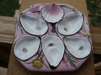 Gorgeous Pink 5 Well Seafood Oyster Plate ~ Dish -  -JEANNE REED'S - -
