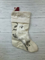 Pottery Barn Woodland Owl Stocking Crewel Embroidered Fur Monogrammed *Alice*