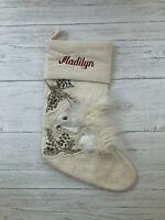 Pottery Barn Woodland Squirrel Stocking Crewel Embroidered Fur