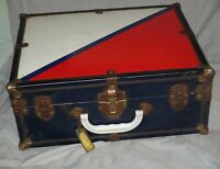 Vintage METAL RED WHITE & BLUE SUITCASE Wood Antique Patriotic Box Key 16