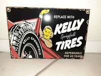 VINTAGE PORCELAIN KELLY TIRES GAS AND OIL SIGN Original Antique Springfield