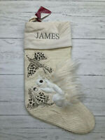 Pottery Barn Woodland Squirrel Stocking Crewel Embroidered Fur *James*