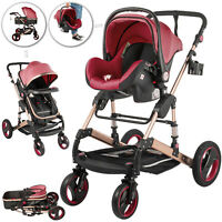3 In 1 Luxury Baby Stroller Pushchair Foldable Buggy Infant Travel With Car Seat