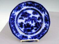 7 3 4quot; Antique Staffordshire Flow Blue Plate Manilla By Podmore amp; Walker Ca 1845