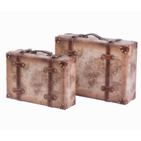 Set of 2 Vintage-Style World Map Leather Wooden Suitcase Trunks with Straps and