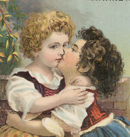 2 GIRLS KISSING EACH OTHER for LAUTZ BROS & CO.TRADE CARD, COTTON OIL SOAP  A941