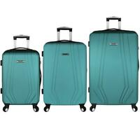 Spinner Luggage Set Suitcase Travel Bag Trolley Hardside Plastic 3 Piece Teal