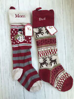 NWT Pottery Barn Kids Snowman Reindeer Fair Isle Knit Stocking mono: Mom Dad