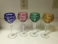 (4)  Wine  Goblets Colored Cut to Clear Bohemian RED/GREEN/BLUE /YELLOW