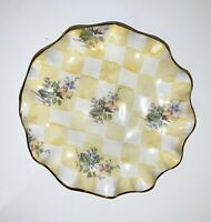 """MacKenzie Childs Plate 7.5"""" Yellow Floral Ruffle Sweet Pea Victoria"""
