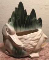 Vintage 1950s McCoy Duck in Reeds Planter Green & White