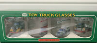 Two! New1996 Hess Toy Truck Glasses (4) Collectors Series with Advertising Sign