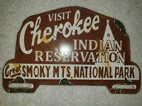 Cherokee Indian Reservation Smokey Mountains Park Gas Oil Porcelain Topper Sign