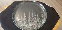 Vtg Christmas Platter Cake Plate Clear Glass w etched amp; Frosted Pine Trees 13quot;