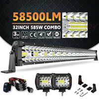 Tri Row 32/34Inch 585W LED Light Bar+Wiring Combo Offroad 4WD Truck SUV ATV RZR