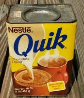 Vintage Nestle Quik Retro Metal Cardboard Tin 16 oz 1lb Empty with Lid