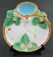Antique MINTON majolica STRAWBERRY Dish Plate Shell shape Whipped Cream Well