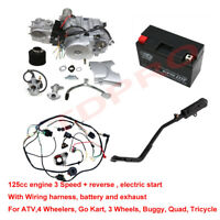 125cc ATV Engine Motor Semi Auto w Battery Wiring Exhaust 4 Wheelers Honda
