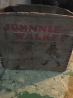 Antique Vintage Johnnie Walker Red Label Scotch Whiskey Wood Crate Advertising