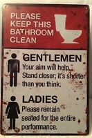 8x12 Bathroom Tin Sign Metal Poster Wall Funny Toilet restroom Plaque Vintage