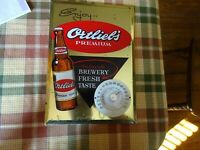 Ortliebs Beer Tin Over Cardboard Advertising Display Sign Thermometer