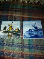 Pair of Hand Painted Delft Tiles; Windmills 2