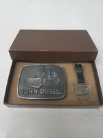 John Deere Gift Set Including Belt Buckle And Watch Fob Bulldozer Emblem NEW