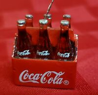 VINTAGE MINI COCA COLA MINIATURE SIX PACK Ornament Keychain Dollhouse Advrtzg 1quot;