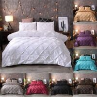 Solid Color Duvet Cover Bedding Set Solid Bed Covers Pinch Pleat Art Work Single