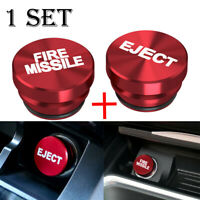 2X Universal Fire Missile Eject Button Cigarette Lighter Cover 12V Accessories $15.99