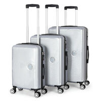3 Set ABS Luggage Hardside Spinner Lightweight Durable Spinner Silver Suitcase
