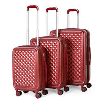 Set of 3 ABS Luggage Hardside Spinner Lightweight Durable Spinner Suitcase Red