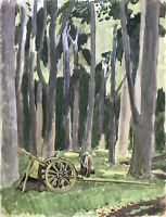 Karl Adser 1912 1995 Old Wheels Cartwheel Carriage IN The Forest Nature Denmark