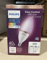 Philips Smart Wi Fi 40W LED Tunable Candle Bulb Full Color Dimmable 355 Lumens $18.95