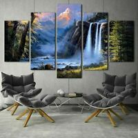Fantasy Waterfall Forest Paiting 5 Piece Canvas Print Wall Art Home Decor $170.19