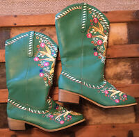 Women's Vintage Teal Floral Leather Cowboy Western Boots Size 8.5