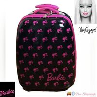 Barbie Travel Luggage Girls Size 18quot; Hard Shell Black and Pink Wheels Rolling
