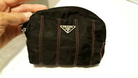 VINTAGE PRADA NYLON ZIP TOP COSMETIC POUCH BLACK RED STITCH COIN PURSE