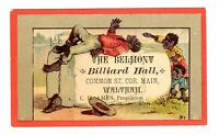 TRADE CARD U.S. CHROMO BELMONT BILLIARD HALL WALTHAM BLACK AMERICANA