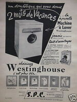 PUBLICITÉ 1956 LA NOUVELLE MACHINE À LAVER WESTINGHOUSE ADVERTISING