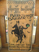 Primitive Wood Halloween sign  SLEEPY HOLLOW BED & BREAKFAST