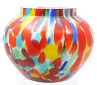 Bohemian - Cased Spatter Glass - Round Vase - Multi Colors