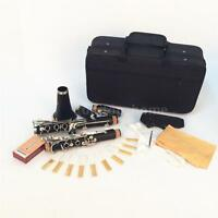 LADE Clarinet Bakelite 17 Key Bb Flat Soprano Exquisite with 10 Reeds+Case Hot