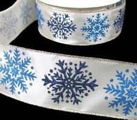 5 Yds Winter Christmas Blue Glitter Snowflakes Modern Ivory Satin Wired Ribbon 2