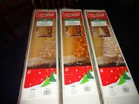 Cheer Pre-Lit Tinsel 4Ft Christmas Tree w/Stand 70 Light Champagne Silver White