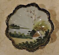 Small Oriental Nippon Bowl w. Hand Painted Nature Design Candy Dish/Trinket Bowl