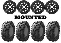Kit 4 Kenda Bearclaw K299 Tires 25x8-12/25x10-12 on ITP Delta Steel Black POL